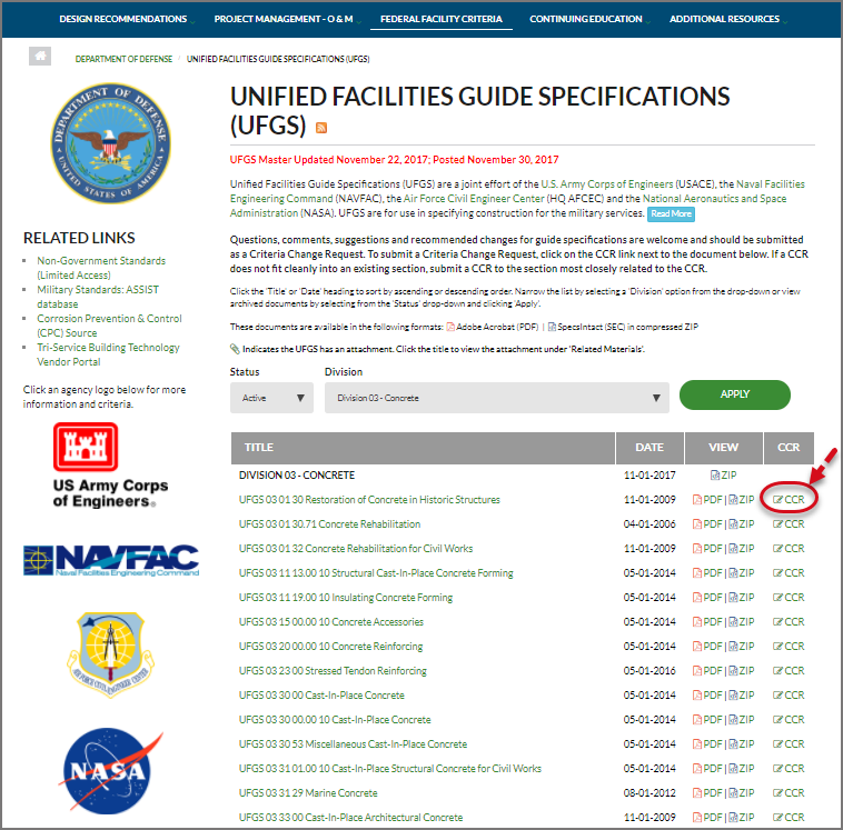 SI Explorer Tools Menu - Submit A UFGS CCR